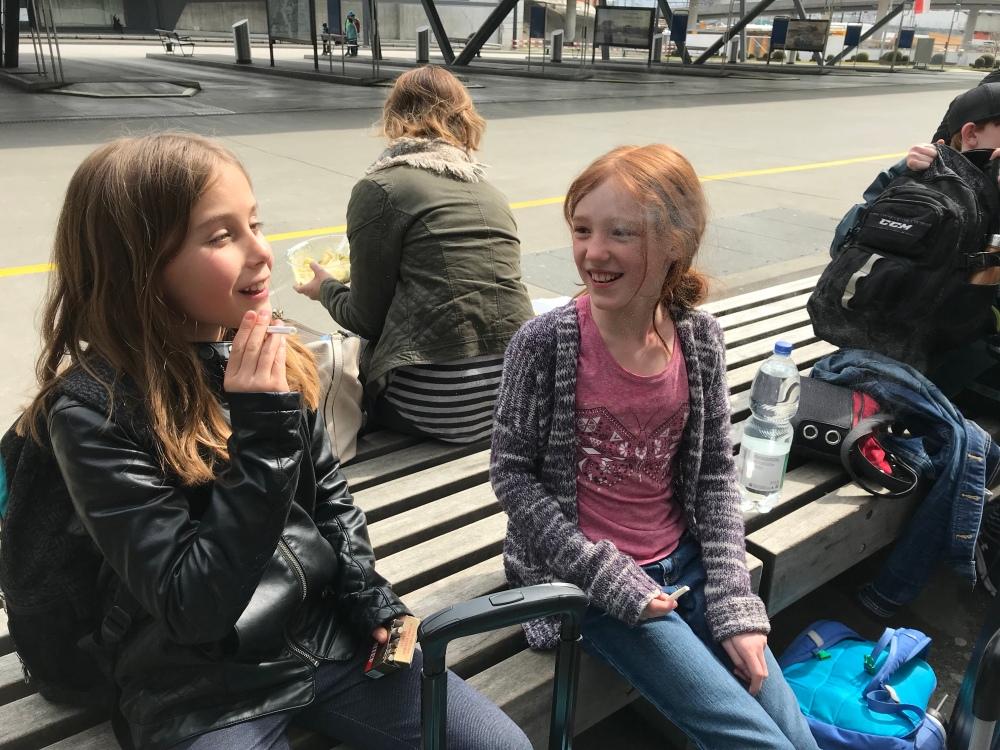 Helena teaching Alex the European way - bubblegum cigarettes