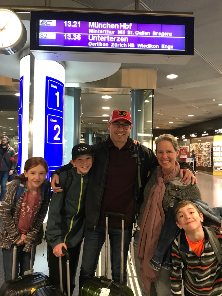 The Pearce family. Arrived at the Zürich airport the morning of Good Friday.
