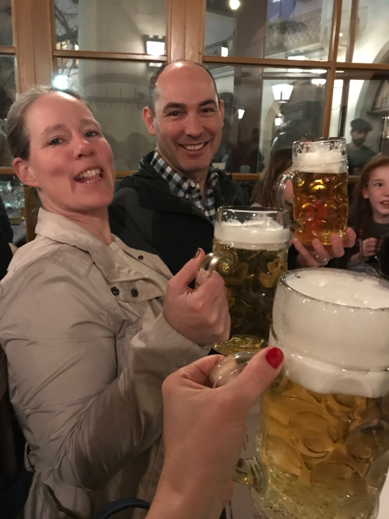 When in Rome...or Munich, as it happened to be. (Risky business these big beers. Before you know it you've consumed nearly a 6-pack!)