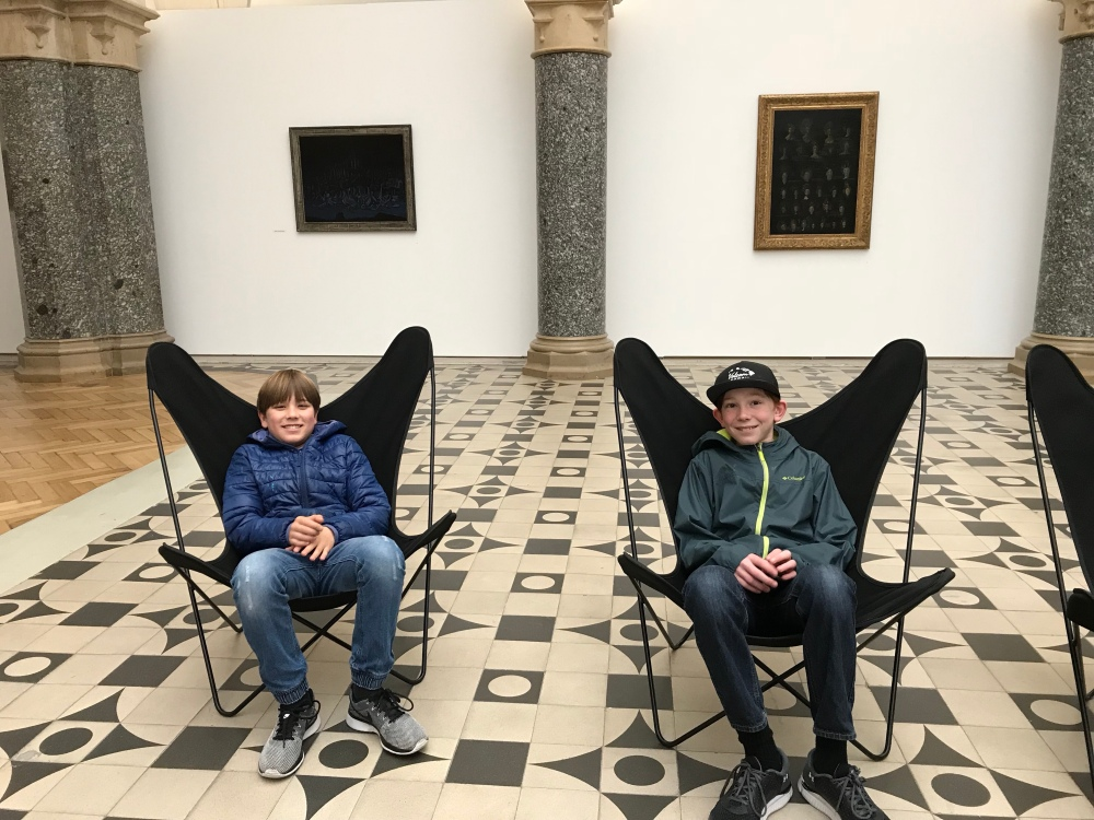 The boys, chilling at an art gallery.